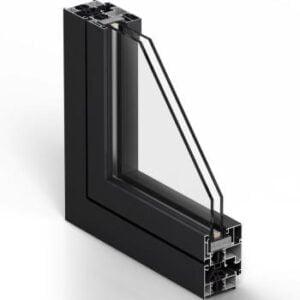 un système de mousse de polyoléfine placée autour du cadre du vitrage.