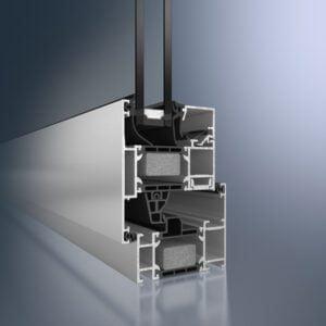 Fenêtre en aluminium avec pvc enveloppe, produit par Shuco 70 WS